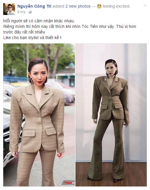 """Nhà thiết kế Công Trí bất ngờ cho Tóc Tiên và stylist Kelbin Lei """"một like""""."""