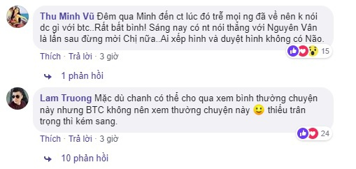 Trên dòng trạng thái này của ca sĩ Phương Thanh, Diva Thu Minh cùng nam ca sĩ Lam Trường thẳng thắn bày tỏ ý kiến bất bình với tấm poster của chương trình.