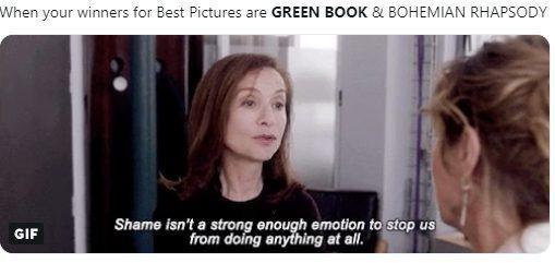 """Khi hạng mục Phim xuất sắc năm nay trao cho """"Green Book"""" và """"Bohemian Raphsody""""."""