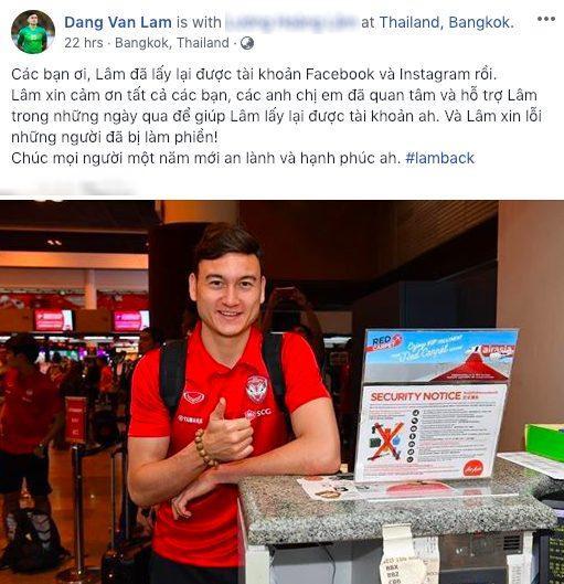 Văn Lâm vui mừng thông báo đã lấy lại được tài khoản mạng xã hội của mình.