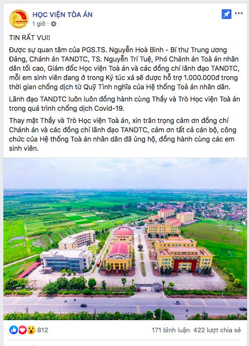 Thông báo của Học viện Tòa án Hà Nội