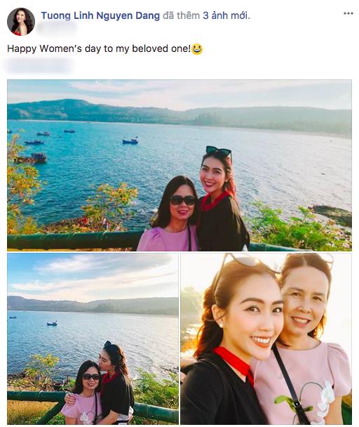 Tường Linh chia sẻ ảnh bên mẹ trong ngày Quốc tế phụ nữ. Đồng thời, Á quân The Face Vietnam mùa 2 cũng gửi lời chúc mừng đến đấng sinh thành nhân dịp 8/3.