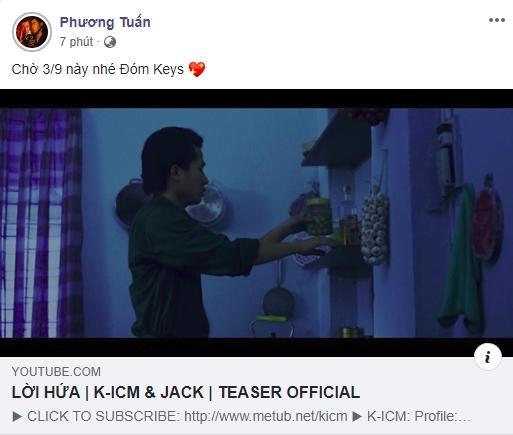 Đoạn Teaser và dòng trạng thái được Jack…