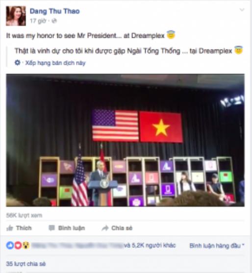 Hoa hậu Đặng Thu Thảo hào hứng chia sẻ cảm xúc khi trực tiếp có mặt trong buổi gỡ Tổng thống Obama vào chiều 24/5.