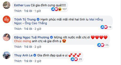 Nhiều đồng nghiệp như Hari Won, Thủy Anh - bà xã Đăng Khôi, diễn viên Trịnh Tú Trung… cũng bày tỏ sự vui mừng trước hạnh phúc của cặp đôi sau 10 năm yêu nhau.