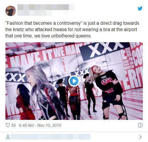 """""""Thời trang trở thành tranh cãi"""". Đây chắc chắn là cách Hwasa đáp trả những Knets từng tấn công cô nàng bởi tranh cãi không mặc bra ở sân bay"""
