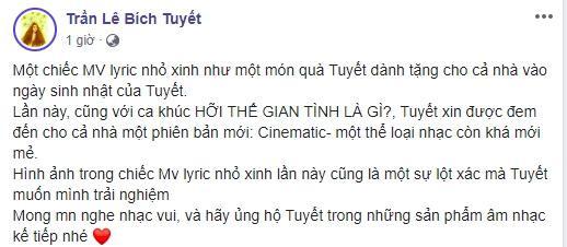 Dòng trạng thái mà Trần Lê Bích Tuyết đăng tải trên trang cá nhân.