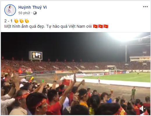 Người đẹp Huỳnh Thúy Vi chia sẻ khoảnh khắc đẹp tại sân vận động Mỹ Đình.