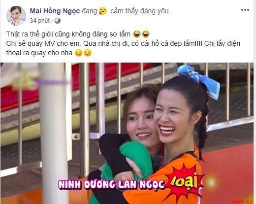 """Dòng trạng thái Đông Nhi """"rủ"""" Ninh Dương Lan Ngọc qua nhà quay MV cạnh hồ cá."""