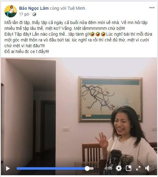 Dòng trạng thái và đoạn clip được Lâm Bảo Ngọc chia sẻ trên trang cá nhân.