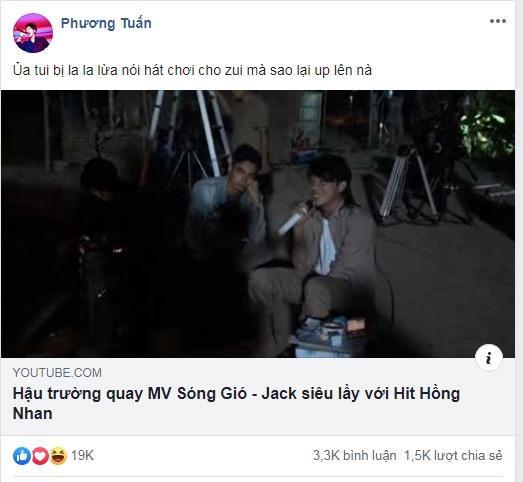 Clip hậu trường quay MV Sóng gió và dòng trạng thái chia sẻ của Jack.
