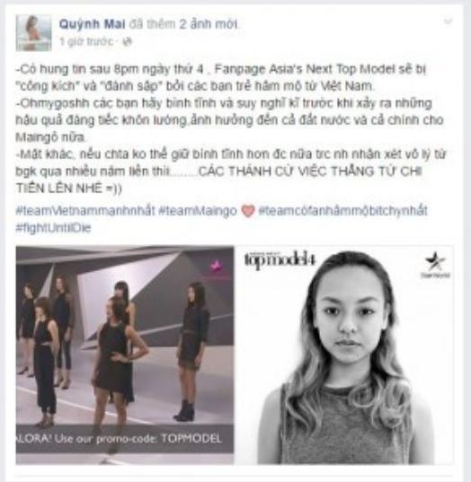 Dòng trạng thái Quỳnh Mai đăng lên để trấn an tinh thần fan.