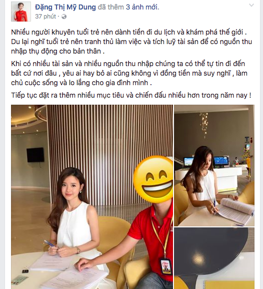 Dòng chia sẻ mới nhất của Midu trên Facebook cá nhân.