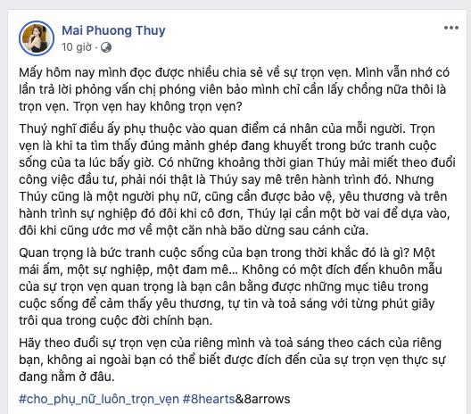 Dòng chia sẻ của Mai Phương Thúy nhận được ngàn like và nhiều comment đồng tình ủng hộ.