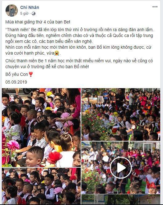 Chí Nhân bất ngờ đăng tải ảnh có mặt Thu Quỳnh trong lễ khai giảng của con trai, nhưng đã vội xoá đi ảnh 0