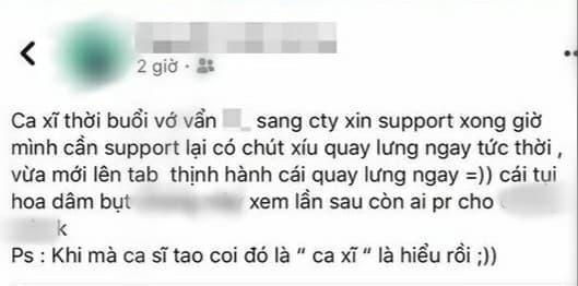 Dòng trạng thái tố thái độ vô ơn của nghệ sĩ từ quản lý Hương Ly gây chú ý. Đáng nói hơn, gia đình Hoa dâm bụt đã được nhắc thẳng mặt.