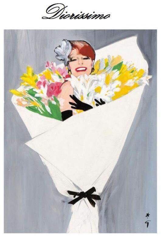 Dựa trên dòng tranh minh hoạ do chính René Gruau tặng cho Christian Dior, bộ trang phục khép lại show diễn của Moschino.