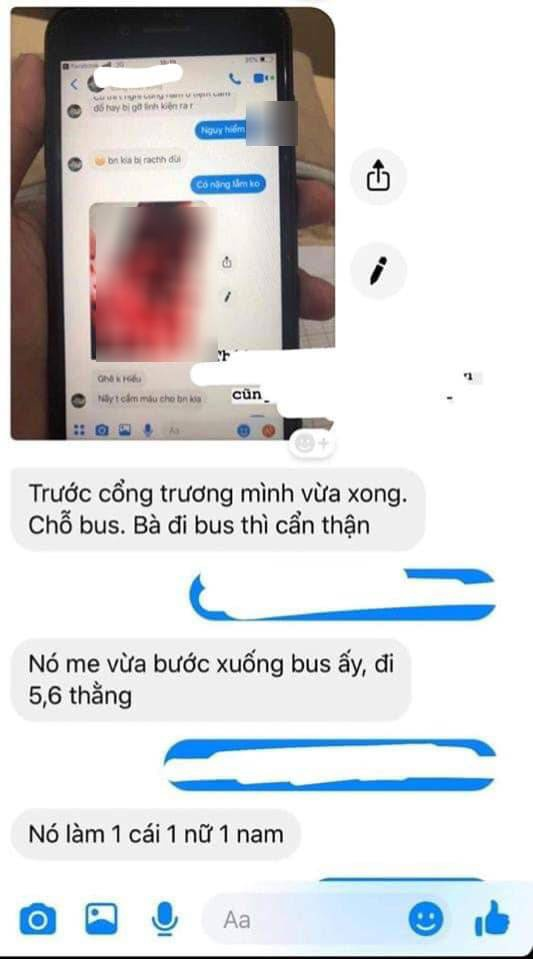 Thông tin sinh viên bị giật ba lo, rạch đùi được người tung tin kể lại qua tin nhắn.