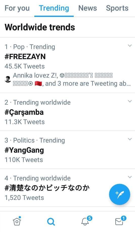 Hashtag #FreeZayn đang Top 1 trending toàn cầu của Twitter.