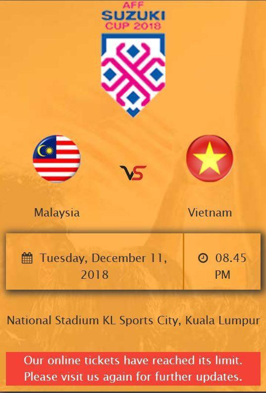 Số lượng vé trận chung kết lượt đi bán trong ngày 07/12 tại Malaysia qua kênh trực tuyến hết trong chưa đầy một giờ đồng hồ.