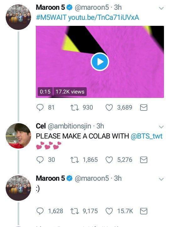 """Maroon 5 từng có lần """"thả thính"""" hợp tác với BTS."""