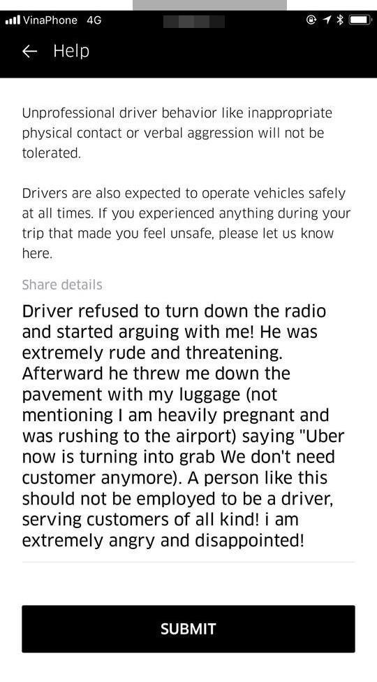 Nội dung Hà Anh gửi đến Uber vì cách hành xử thiếu tế nhị của tài xế.