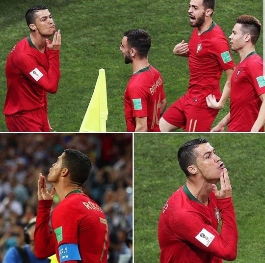 Sau khi lập hat-trick vào lưới TBN, Ronaldo đã có hành động ăn mừng theo kiểu vuốt râu dê, ngụ ý anh mới là GOAT.