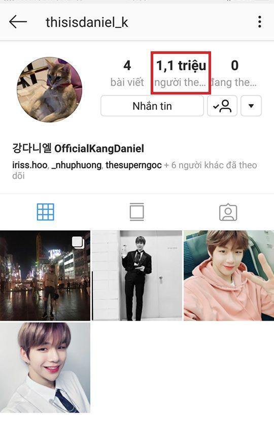 Tài khoản Instagram của Kang Daniel.