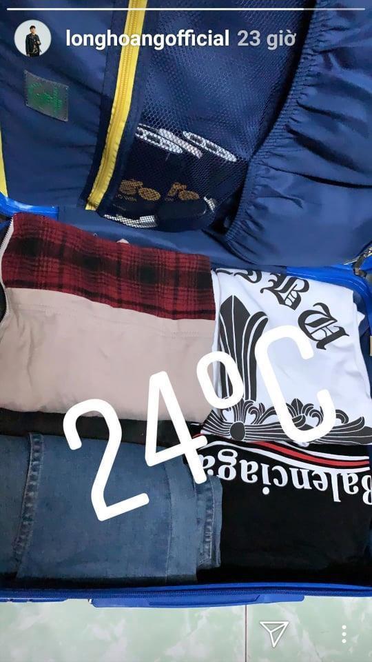 Long Hoàng chia sẻ hình ảnh vali quần áo chuẩn bị cho chuyến đi Hàn Quốc