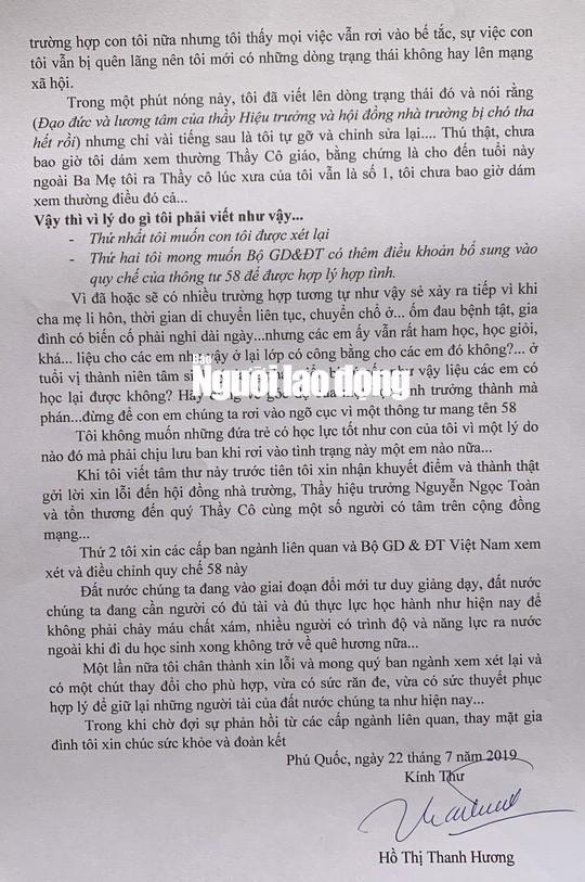 Tâm thư của bà H. gửi Bộ trưởng Bộ GD-ĐT sau vụ việc lùm xùm. Ảnh: Người lao động.