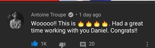 Biên đạo múa Antoine Troupe đã bình luận vào MV chúc mừng Kang Daniel.