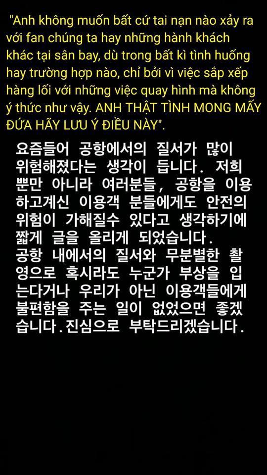 Lời nhắn nhủ bản gốc tiếng Hàn của Suho và bản dịch Việt.