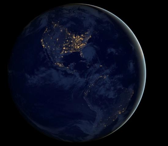 Bắc Mỹ và Nam Mỹ về đêm.