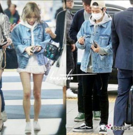 Sau khi chia tay, Taeyeon – Baekhyun cũng từng bị bắt gặp mặc áo giống nhau.