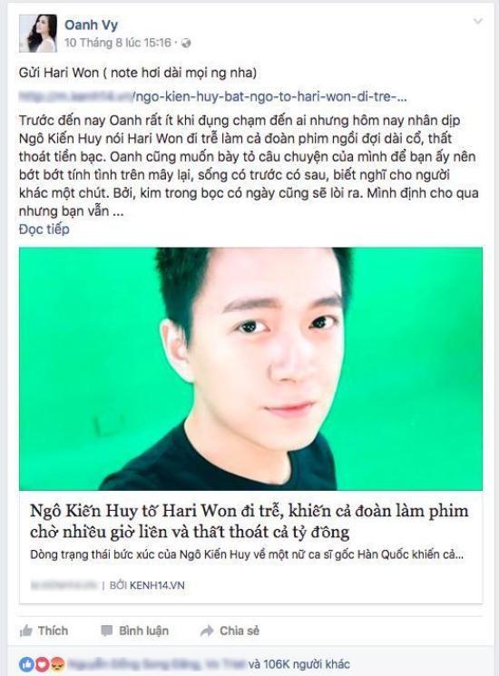 Chia sẻ của Vy Oanh trên trang cá nhân.