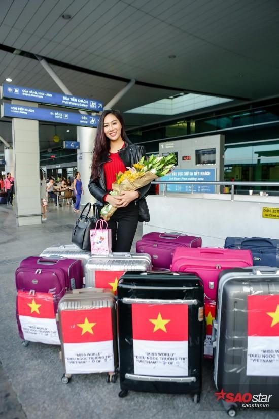 Trong lần đến với đấu trường sắc đẹp Hoa hậu Thế giới 2016, Diệu Ngọc mang tới 9 kiện hàng lý.