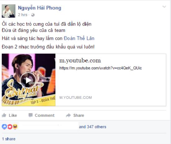Nhạc sĩ Nguyễn Hải Phong sau khi chọn Thế Lân về đội cũng đã có những lời chia sẻ đầy hào hứng về cậu học trò này trên trang cá nhân.