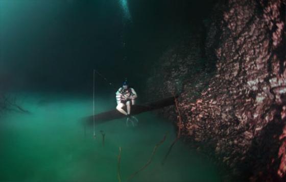 Nhóm thợ lặn đang diễn tả lại cảnh ngồi câu cá giống như những con sông trên mặt đất. Ảnh: Brightside