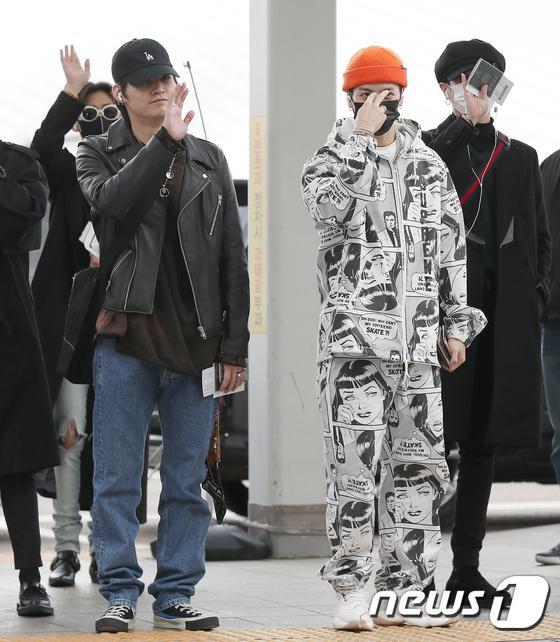 갓세븐 JB와 잭슨(오른쪽)이 '2019 엠넷 아시안 뮤직 어워즈'(2019 MAMA) 참석 차 3일 오전 인천국제공항을 통해 일본 나고야로 출국하고 있다. 2019.12.3/뉴스1