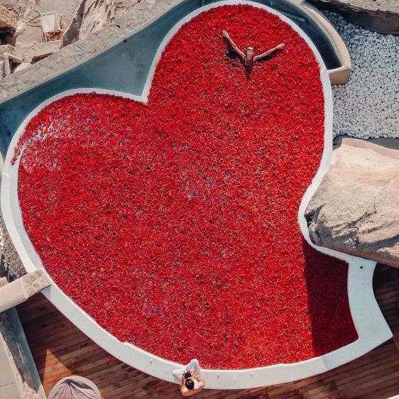 Và đây, quán quân của dịp lễ Valentine này là một bể bơi khổng lồ hình trái tim phủ đầy cánh hoa hồng!