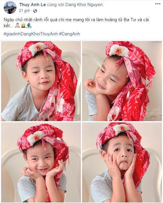 Hình ảnh con trai Đăng Khôi hóa 'hoàng tử Ba Tư' được Thủy Anh chia sẻ