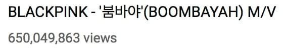MV Boombayah của BlackPink cán mốc 650 triệu view.