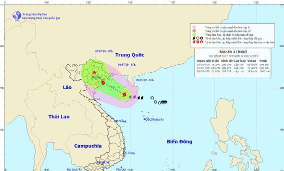 Bãosố 2 giật cấp 11, khả năng đổ bộ vào đất liềntừ Quảng Ninh – Ninh Bình. (Ảnh:Trung tâm dự báo khí tượng thủy văn quốc gia).