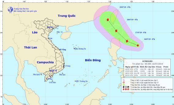 Xuát hiện áp thấp nhiệt đới giật cấp 9 gần Biển Đông. (Ảnh:Trung tâm Dự báo Khí tượng Thủy văn Quốc gia).