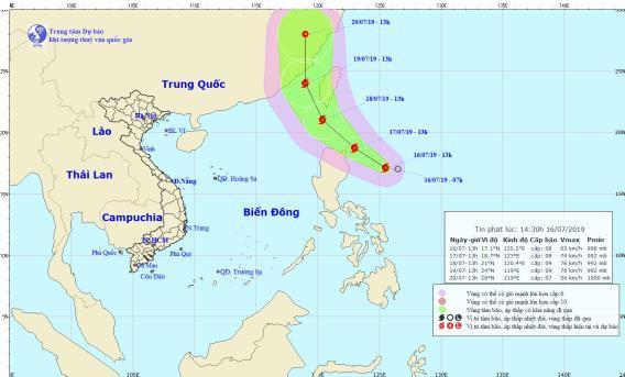 Áp thấp nhiệt đới gần Biển Đông mạnh lên thành bão. (Ảnh: Trung tâm Dự báo khí tượng thuỷ văn Quốc gia).