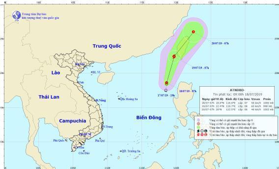 Áp thấp nhiệt đới trên biển Đông khả năng mạnh thành bão. (Ảnh:Trung tâm Dự báo Khí tượng Thủy văn quốc gia).