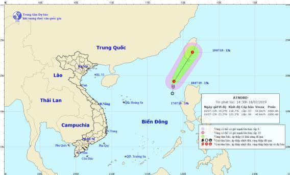 Áp thấp nhiệt đới trên biển Đông có khả năng tan dần.(Ảnh: Trung tâm Dự báo KTTV-QG).