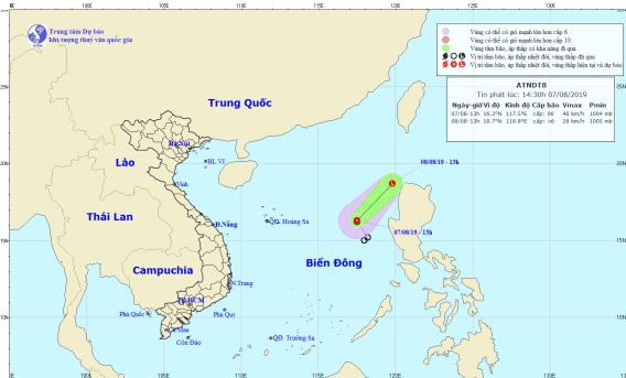 Áp thấp nhiệt đới gây gió giật cấp 8 trên biển Đông. (Ảnh: Trung tâm dự báo khí tượng thủy văn quốc gia).