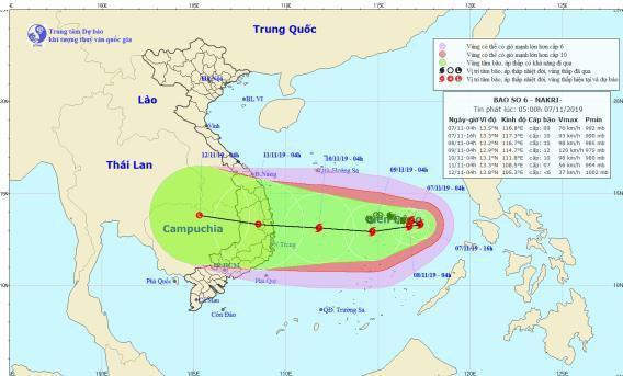 Dự báo thời tiết hôm nay (9/11), bão số 6 có diễn biến khá phức tạp. Ảnh: Trung tâmDự báo Khí tượng thủy văn Quốc gia.