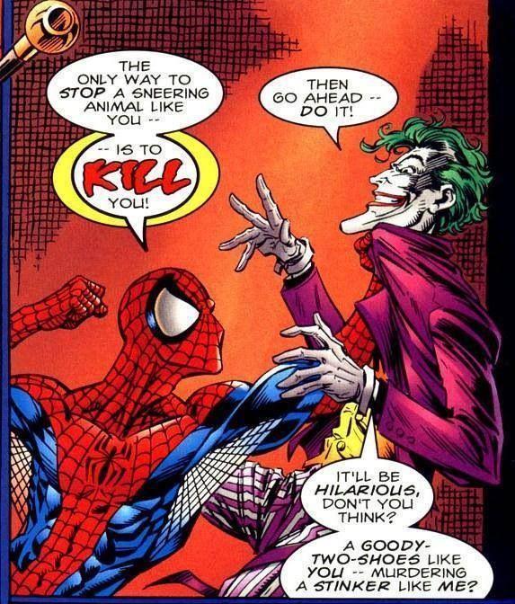 Joker và Spider-Man thực chất từng đụng độ nhau trong tựa truyện Spider-Man and Batman ra mắt năm 1995.